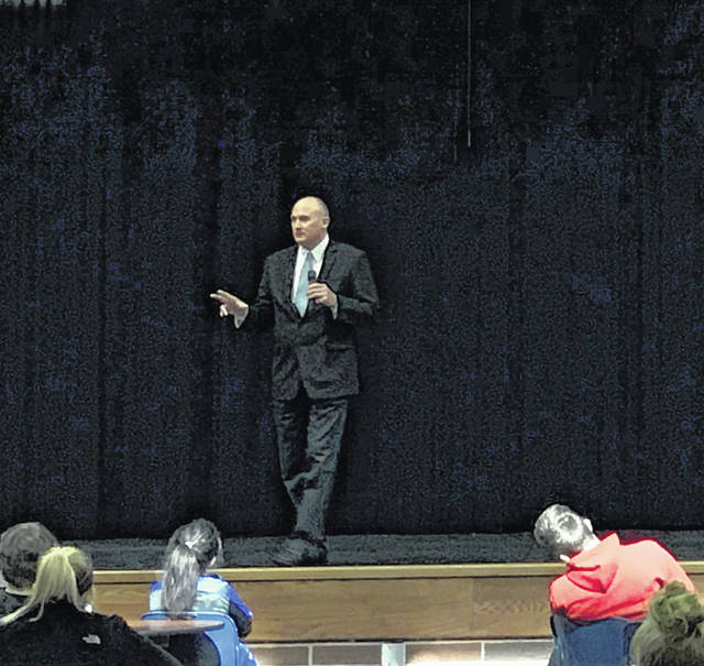 Glen Cobb, of the Ohio Department of Natural Resources, addresses students at Fairlawn Local School, on Tuesday, Oct. 16. Cobb was a linebacker for both OSU and the Denver Broncos before working for ODNR. His career with the department has spanned over 30 years. Currently, Cobb oversees ODNR's state parks, lodges, and golf courses, as well as special projects.