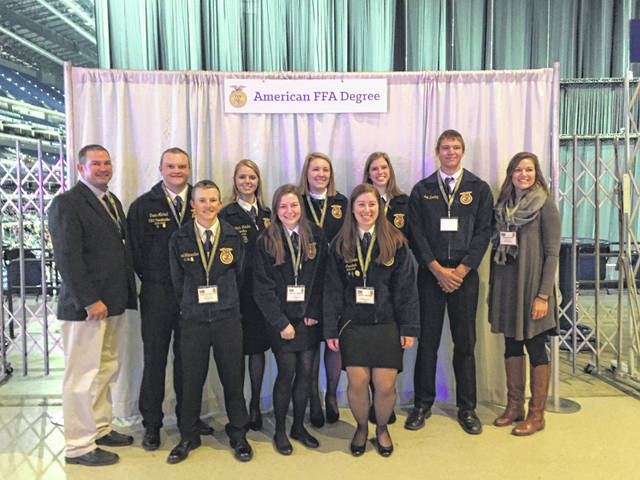 Anna FFA members who received their American Degrees were, front row, left to right, Sam Wattercutter, Kelsey Meyer and Olivia Maurer; and back row, adviser Tim Zimpfer, Owen Michael, Elizabeth Landis, Audrey Barhorst, Sarah Foltz, Erik Berning and adviser Sarah Heilers