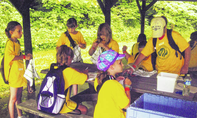 Girl Scouts complete craft projects at day camp in Camp Brookside in Sidney in 2010.