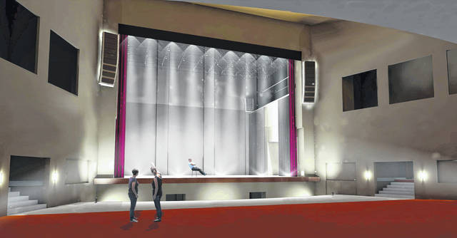 This rendering shows the increase in lighting in the Historic Sidney Theatre's stage area. Match Day gifts will purchase a lighting and sound system as part of the building's renovation.