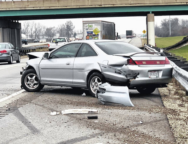 A vehicle crashed into a guardrail in the northbound lane of Interstate 75 at mile marker 92 Tuesday morning around 11 a.m. The Ohio State Highway Patrol responded to the crash. No one was hurt in the single-vehicle crash.