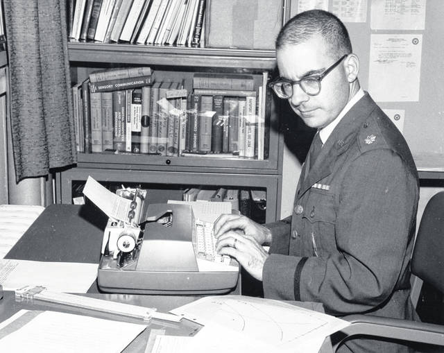 Joseph Martino at work in his office as an Air Force engineer in the 1960s.