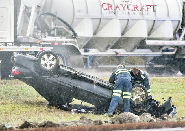 A southbound car on I-75 flipped onto its top in the median after the driver lost control just south of exit 93 around 1 p.m. on Thursday, Nov. 1. Only one vehicle was involved in the crash. The Ohio State Patrol responded to the scene.