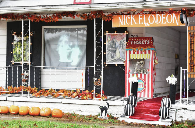 An elaborate video display at 709 S. Miami Ave. shows old silent horror movies.
