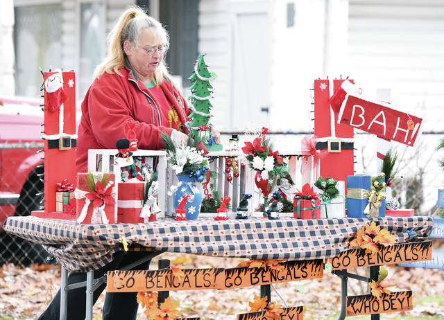 Kathy Fleming, of Sidney, sets up a Christmas craft and quilt sale located at 421 Fourth Ave. Fleming made all the crafts with her sister Kelly Fleming. The craft sale has been a family tradition for years.