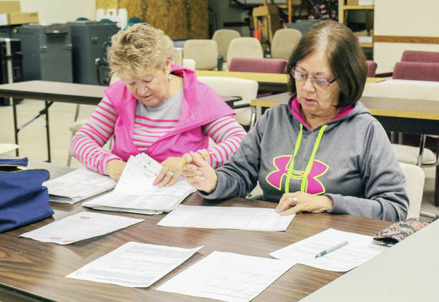 Patti Miller, left, and Nancy Hamaker, both of Sidney, count ballots at the Shelby County Board of Elections, Wednesday, Nov. 28.