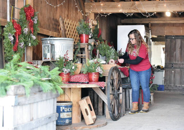 Crossway Farms Market Manager Courtney Diltz, of Tipp City, arranges items for sale in the Christmas Barn, Wednesday, Nov. 28.