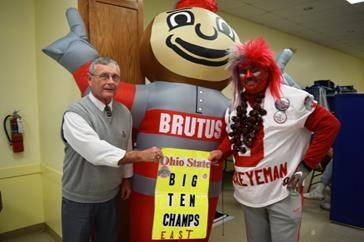 "Super fans ""Tress"" and ""OSU Buckeyeman"" at 2017 Shelby Co. OSU Alumni Club and Farm Bureau Women's Committee ""Buckeye Blood Drive."""