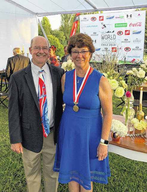 Jeff and Libby Van Treese at the closing ceremonies for the International Waterski and Wakeboard Federation world ski championships.