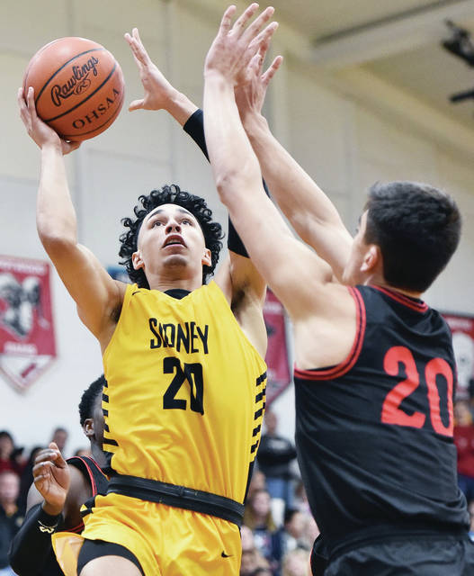 Sidney's Andre Gordon shoots as Wayne's Bobby Cole defends during a nonconference game on Saturday in Sidney.