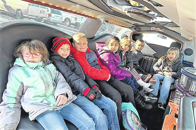 The top sellers in the fall pie, chips and salsa fundraisers at Northwood Elementary School received a limo ride to Pizza Hut Wednesday where they enjoyed lunch. Each student sold more than $400 in products in the fundraiser sponsored by the PTO. They also received a Northwood T-shirt. Timberidge Limousine Service provided the ride for the students.