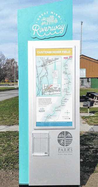 The new Great Miami Riverway kiosk recently erected at Custenborder Field located to the right of the gate near the play equipment and shelter area. The kiosk identifies the northernmost point of the 99-mile-stretch of the Riverway beginning in Sidney down to Hamilton.