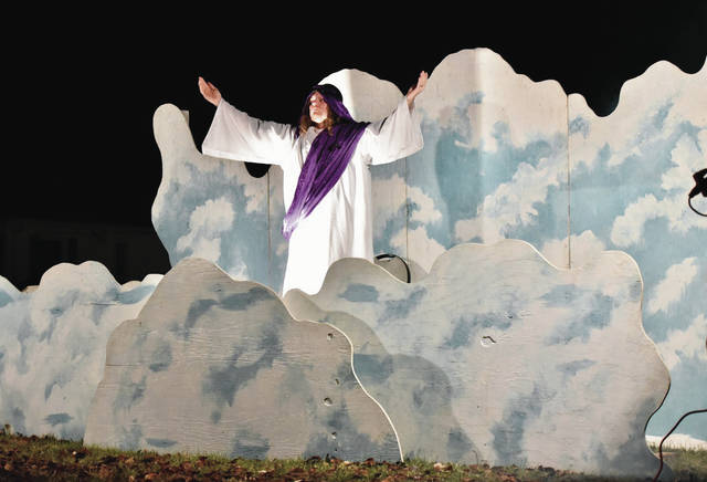 Jesus arrives in clouds at the end of the First Church of the Nazarene's Live Nativity Drive Thru Sunday, Dec. 9. The annual event depicts the event surrounding Jesus' birth in the Bible with live actors and live animals.
