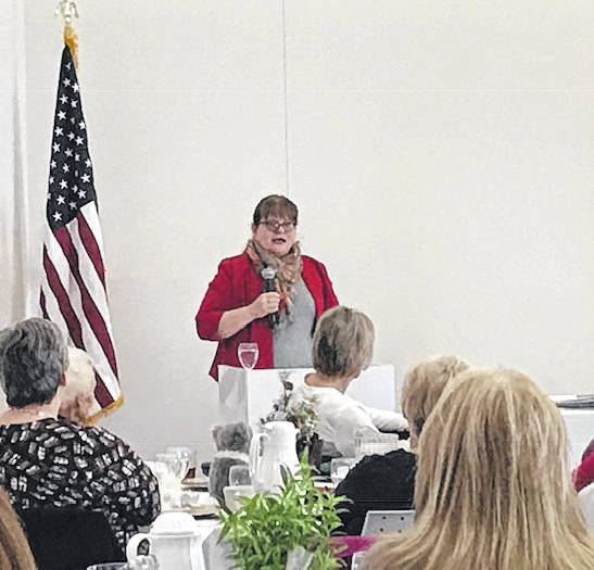 Author Sharon Short, of Dayton, spoke at the Book Club Christmas Luncheon hosted by the Shakespeare Book Club on Friday, Dec. 7, in the Community Room of the Amos Memorial Public Library.