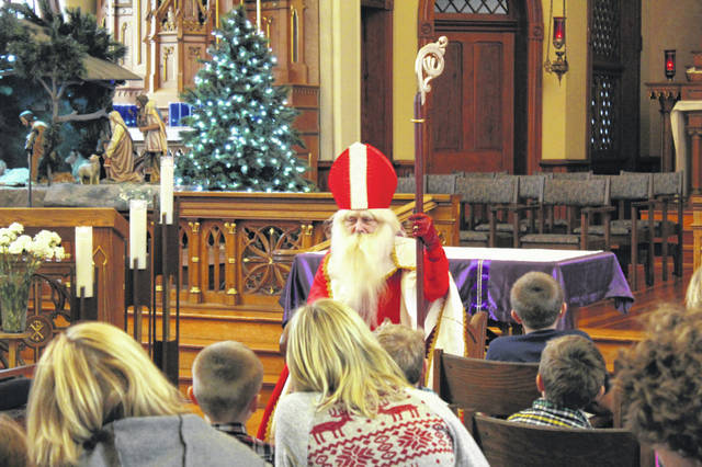 St. Nicholas visited the Adoration Chapel at Maria Stein Shrine on Dec. 2.