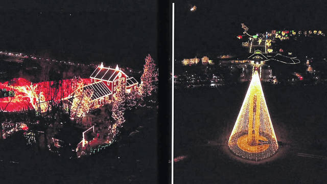 More than 3 million lights illuminate the gorge at Clifton Mill, left, in Clifton. At right, the tallest light tree in the Miami Valley sparkles at Carillon Park in Dayton.
