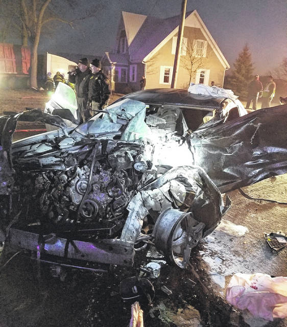 The mangled 2010 Chevrolet Camaro, driven by Preston Knasel, 18, 33 Kossuth St., Sidney, that was struck by an eastbound 1999 Volvo semi-tractor that was hauling heavy steel and crushed cars on state Route 274 after Knasel failed to stop at the stop sign on state Route 29 at state Route 274.