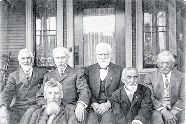 James M. (Ginn) Guinn hosted a reunion of the survivors of Company C, 7th Ohio Volunteer Infantry in Los Angeles on April 25, 1913. Pictured are, left to right, Frank J. Harmon, William H. Scott, Martin M. Andrews, James M. Guinn, Holland Frey and Irving A. Noble. Fourteen members of his Oberlin class were members of Company C; Guinn was with his regiment in every campaign, involved in five great battles, and was one of just six who emerged from the Battle of Cedar Creek uninjured.