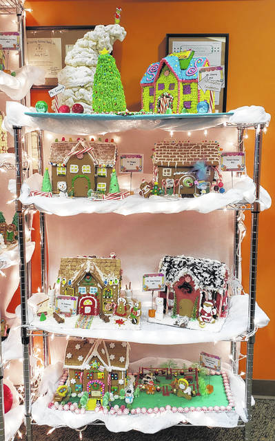 Six of the gingerbread houses currently on display at Alvetro Orthodontics in Sidney. These houses were created by the staff of Dr. Cherry, Dr. Fleagle, Sunset Dental, Dr. Andrews, Dr. Van Treese, and Sidney Dental Associates.