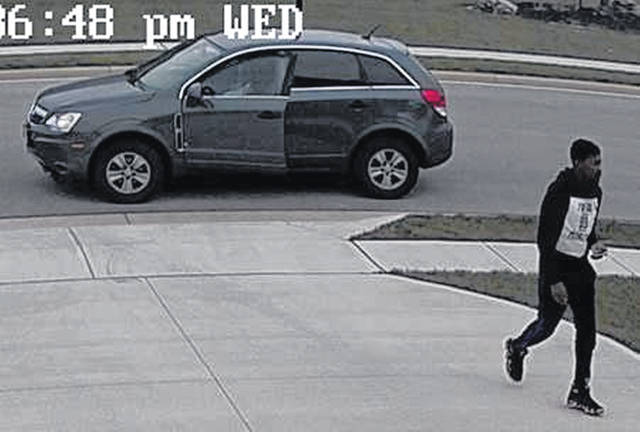 Camera footage shows a man who allegedly stole a package off of the front porch of a Fort Loramie residence Wednesday, Nov. 14, around 2:30 p.m. He is suspected in connection with fraudulent credit card activity and other charges. He is believed to be driving a dark colored Saturn Vue. Call 937-295-4042 to report information.