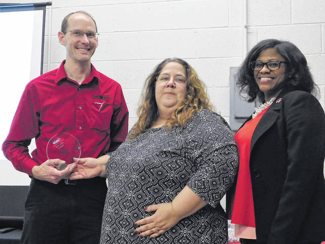 Jeff Bertke, Upper Valley Career School; left to right, Lynne Gump, executive director of Red Cross NMVO Chapter; and Terri Flood, Board chair NMVO.