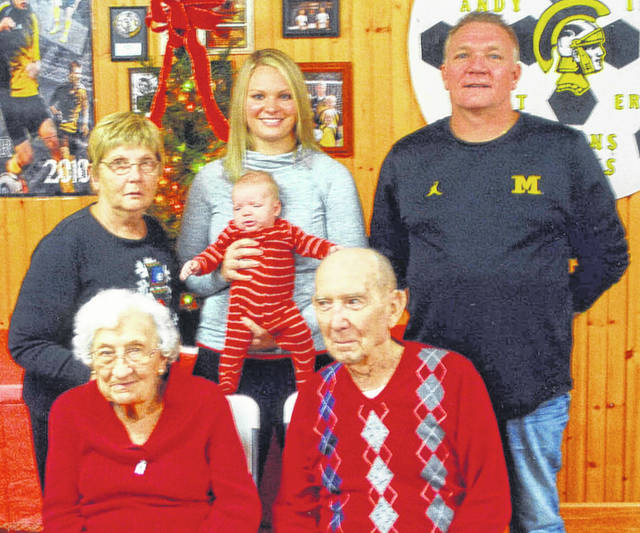 A five-generation family recently met for a photo. Pictured in the front row are great-great-grandparents Viola and Robert Fogt, of Sidney. Back row, left to right, great-grandmother Sharon Aselage, of Wapakoneta, mom Ashley McDonald holding Grayson McDonald, both of Lima, and grandfather Kenneth Aselage, of Anna.