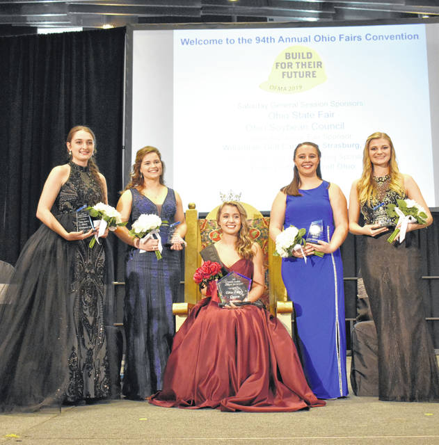 Ohio Fairs Queen Lora Current is surrounded by her court, which includes Ava Lonneman, Portage County Fair, fourth runner-up; Joanna Frankeberg. Auglaize County, first runner-up; Emma Haracre, Clark County, second runner-up; and Regan Draeger, Sandusky County, third runner-up.
