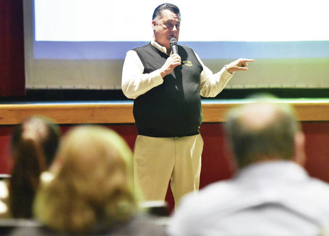 Sidney City Schools Superintendent Bob Humble talks about the reconfiguration of Sidney City Schools during an informational talk at Sidney High School Wednesday, Jan. 9.