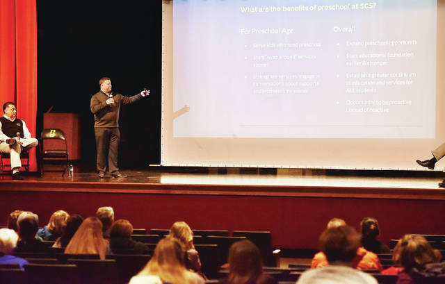 Sidney City Schools Special Education Director Chris Barr talks about the reconfiguration of Sidney City Schools during an informational talk at Sidney High School Wednesday, Jan. 9