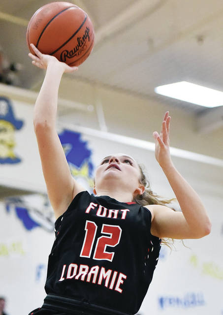 Fort Loramie's Kennedi Gephart shoots during a Shelby County Athletic League game on Thursday at Clair C. Naveau Gymnasium.