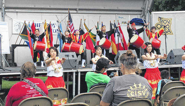 Ryukyukoku Matsuri Daiko, a Japanese drum troupe, and the Hula Girls perform in Troy. They will appear at Ohio Living Dorothy Love, Sat., Jan. 26, in a free performance.