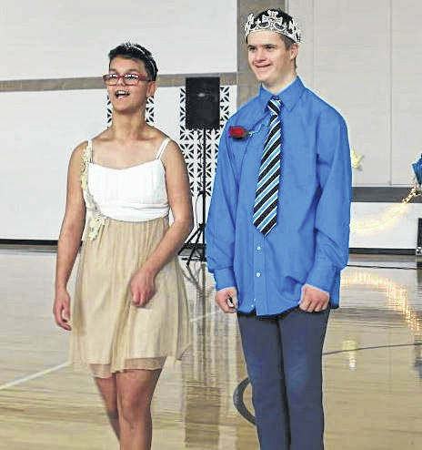 Mikayla Underwood, left, of Jackson Center, and Seth Hoaglin, of Botkins, were crowned queen and king of the	Anna, Botkins and Jackson Center Multiple Handicapped Units homecoming, in Jackson Center, Jan. 11.