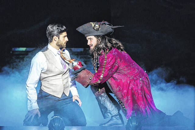 "Jeff Sullivan, left, as J.M. Barrie, and Conor McGiffin as Captain Hook appear in ""Finding Neverland"" at the Schuster Center in Dayton through Sunday."