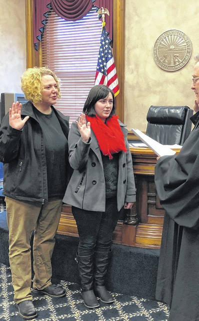 Dr. Cara Kellersmith, left, and Jacqueline Cisco were sworn in as Shelby County Park Board Commissioners on Jan. 13, 2019, by Probate Judge Jeff Beigel.