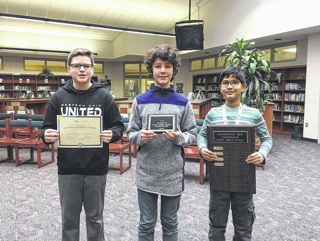 Brady Hagan, left to right, Alex Frew, Pratisth Agarwal were the top three winners in the Sidney Middle School Georgraphy Bee. Pratisth finished first; Alex was first runner-up; and Brady finished in third place.