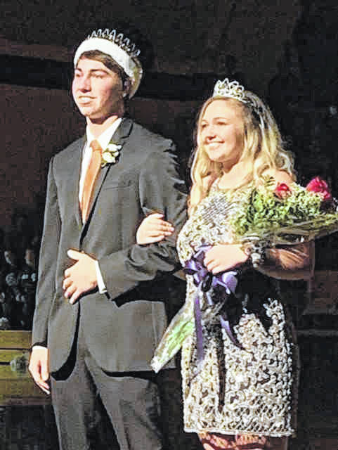 Spencer Heuker, son of Steve and Ginger Hueker, and Faith Cisco, daughter of Mark and Sherri Cisco, were crowned king and queen during Botkins Local School's homecoming ceremony on Friday, Jan. 11.