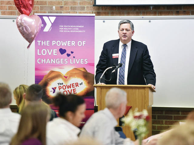 The Sidney-Shelby County YMCA CEO Ed Thomas talks during The Power of Love Changes Lives 2019 Campaign Kick-Off at The Sidney-Shelby County YMCA Thursday, Feb. 14.