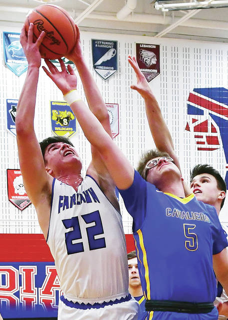 Fairlawn s Ashton Piper and Lehman Catholic s Bryce Kennedy reach for a  rebound during a Division IV sectional opener on Saturday at Piqua s Garbry  ... fce7cb482