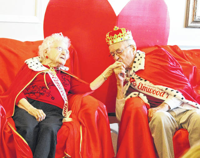 The photograph of Joe Wuebker kissing the hand of Melba Bender after the were crowned 2018 Valentine's Day king and queen at Elmwood of New Bremen was winner in the Ohio Health Care Association's 2018 photo contest.