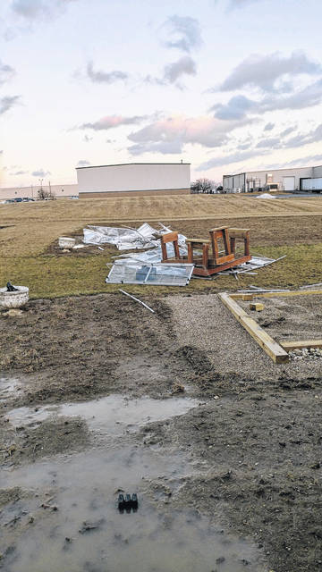 Christian Academy School's greenhouse was destroyed by Sunday's high winds.