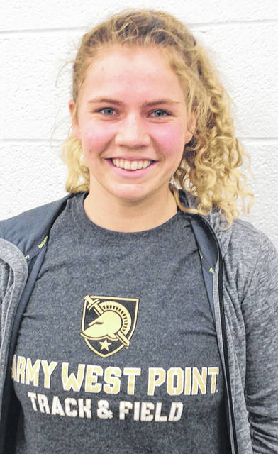 Maddy Magoto, of Minster, proudly sports a T-shirt announcing her acceptance by the U.S. Military Academy at West Point. She will begin studies there in the fall.