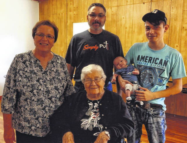 A five-generation family recently posed for a photo. They are, clockwise from top, grandfather Jason Courter, of Russia; father Caleb Courter holding baby Kian Courter, both of Russia; great-great-grandmother Vera M. Piper, of Sidney; and great-grandmother Diane Courter, of Sidney.