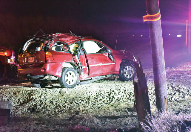 An SUV suffered major damage after snapping a utility pole on South Vandemark Road just south of Fair Road Sunday evening, Feb. 17. No one was injured in the crash. Sidney Police responded to the scene.