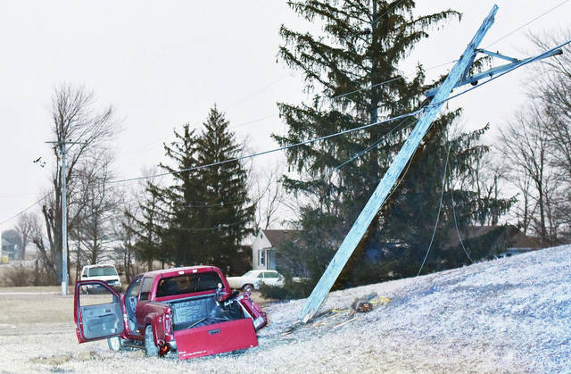 A pickup truck lost control while passing another vehicle on the 9000 block of County Road 25A around 5:57 p.m. Sunday, Feb. 17. The pickup truck left the road, went up a hill striking a tree then continued down the hill striking a pole and snapping it at its base and causing power lines to fall to the ground. DP&L was called to the scene. The driver and passenger were not injured. The Shelby County Sheriff's Office is handling the accident. Freezing rain is believed to be a contributing factor to the crash. Freezing rain is making area roads very slick.