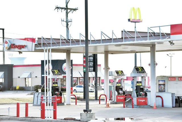 The Kroger gas station sustained damage from the wind storm Sunday, Feb. 24.