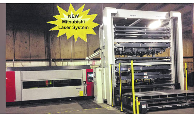 Pictured is Shaffer's Mitsubishi 3015eX-F40 Fiber Optic Laser and Automation system. With all the newest technology available, this new system is capable of making material changes and/or changes in sheet sizes without an operator present.
