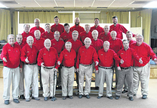 "The Miami-Shelby Melody Men's Chorus will offer ""Singing Valentines"" for a special someone on Thursday, Feb. 14, from 10 a.m. to 6 p.m. For $35, a barbershop quartet will sing two love songs and give a rose or box of candy along with a special Valentine's Day card to the recipient. For more information or to schedule a singing Valentine, contact Jill and Ron Ventura at 937-606-2428. Miami-Shelby Barbershop Chorus members are, row one, left to right, Julian Fasano, Don Jones, Don Heffner, Ron Ventura, Gordon Davis, Don Bierley, Mark Swearingen and Gary Roeth; row two, Matt Blatchly, Jim Riley, Brad Boehringer, Gary Frick, Ken Crawford, Dale McKinney and Bob Moore; row three, Steve McCall, Chris Benge, Zack McCall, Dale Smith and Russ Schmidt; and row four, Mark Eickhoff, Dean Brewer, Scott Eickhoff, Jason Sink and Ben Finney."