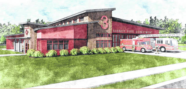 Pictured is drawing of what Sidney Fire Station No. 3 is expected to look like from Wapakoneta Avenue, if the tax levy is passed by voters this May. Architects Tim Bement, from App Architecture in Englewood, and Rob Manns, from Manns Woodward Studios in Baltimore, gave a master planning update on the future fire station during Monday's Sidney City Council meeting.