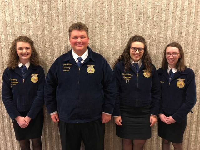 Houston-UVCC FFA Chapter members Eliza Mertz, Drew Walker, Morgan Wemmer, and Lena Stangel. The team will compete at the National FFA Convention this October in Indianapolis, Indiana.