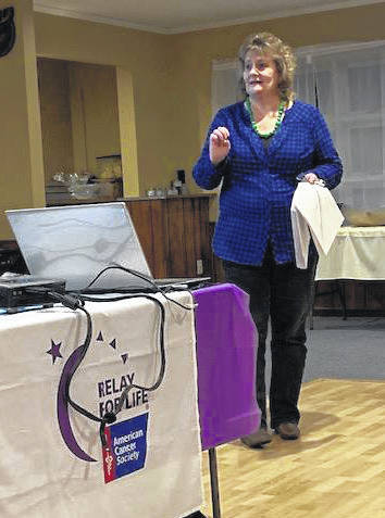 Deb Kaufman addresses attendees at the 2019 Relay for Life of Shelby County kick-off event on Thursday, Feb. 21, at the Sidney Moose Lodge.